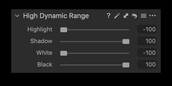 high dynamic range tool, sliders, capture one 20