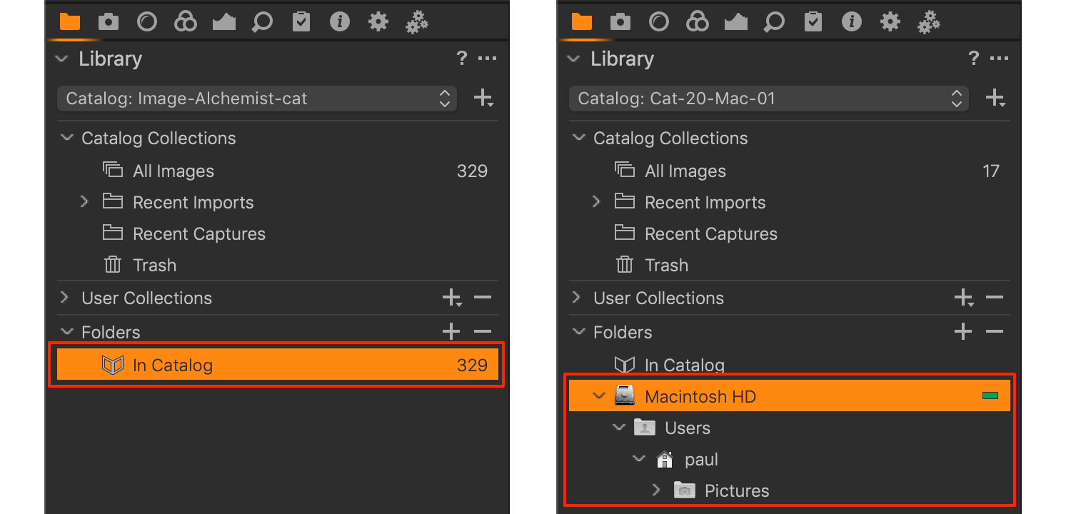 moving catalog images, capture one 20, inside and outside library
