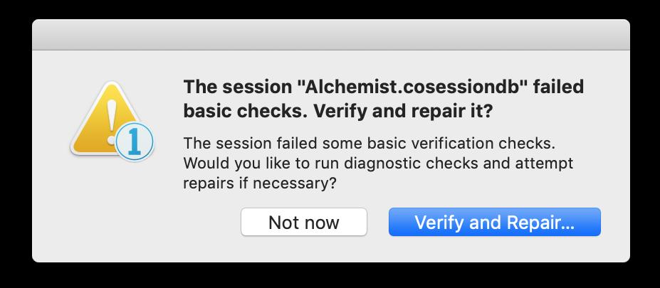 session failed basic checks, verify and repair, Capture One 20