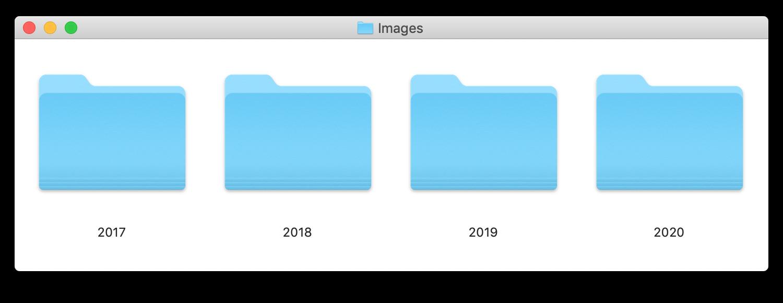 finder, four year folders in a parent folder