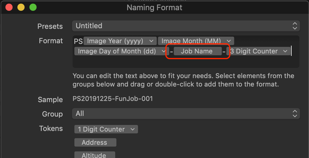 import naming dialog, capture one 20