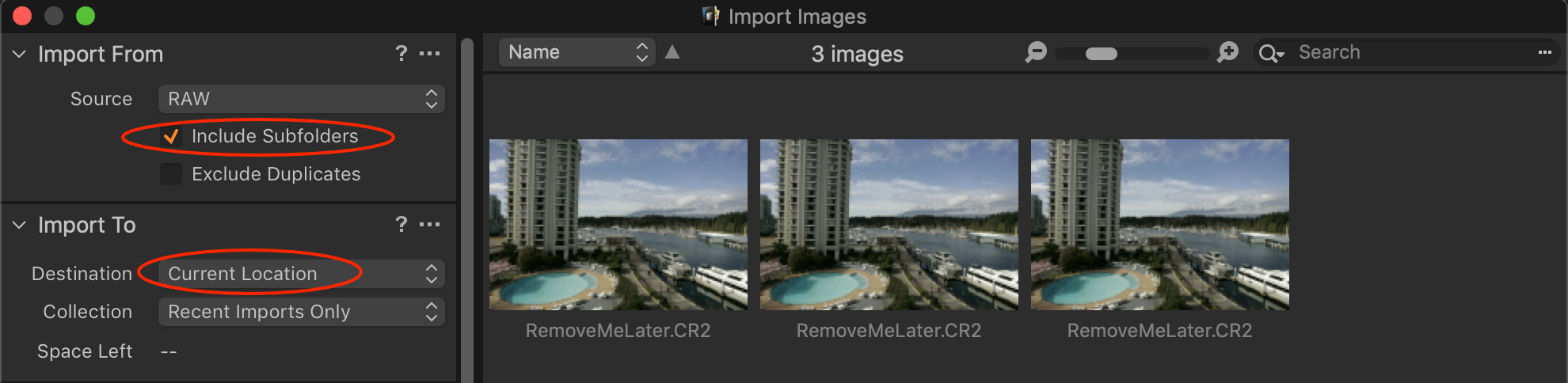 import images, to remove later, capture one 20