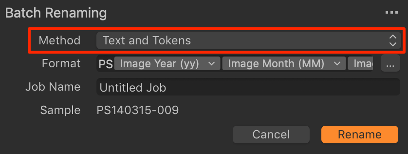 batch rename, text and tokens, capture one 20