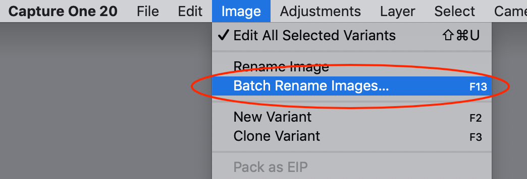 image menu, batch rename images, capture one 20