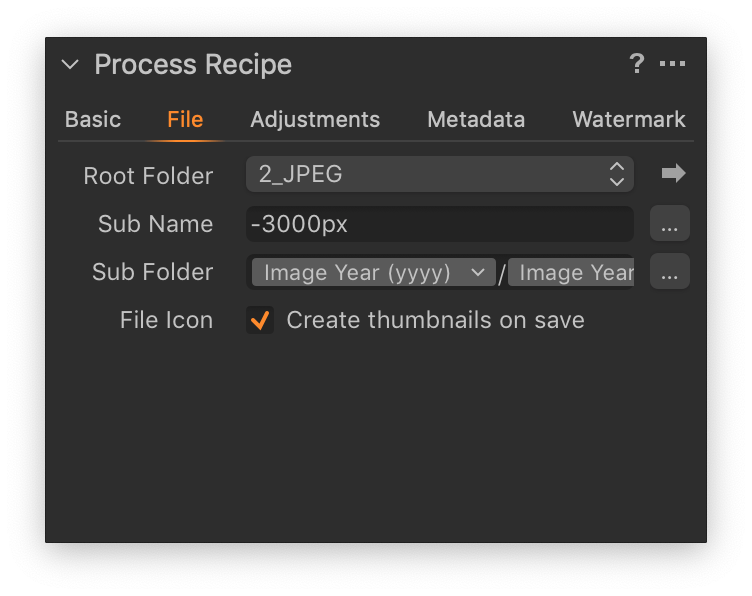process recipe tool, file tab, advanced file naming in capture one