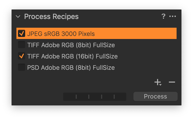 process recipes tool, advanced file naming in capture one
