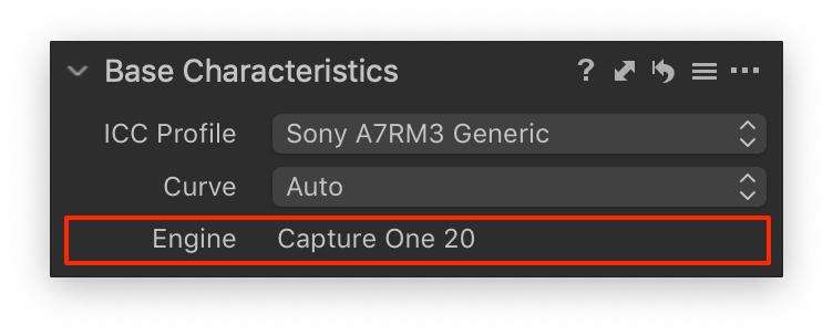base characteristics, capture one 20