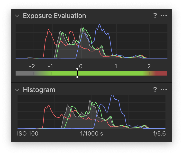 exposure evaluation and histogram tools, capture one 20