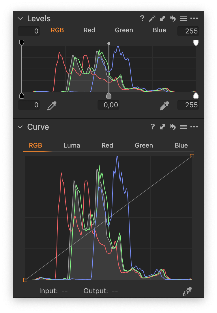 levels and curve tools, no adjustments, capture one 20, histograms in capture one