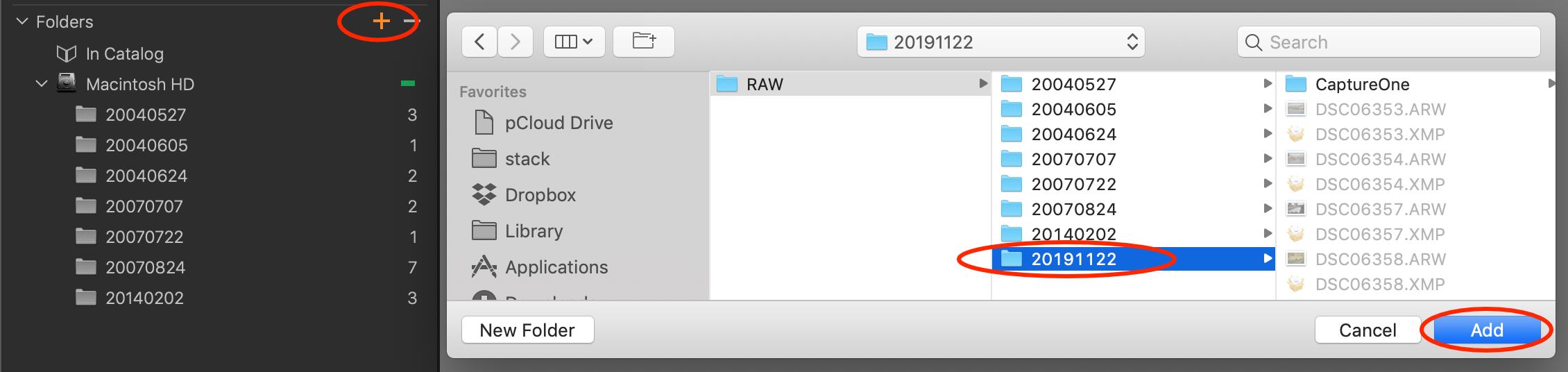 add folder to catalog, capture one 20