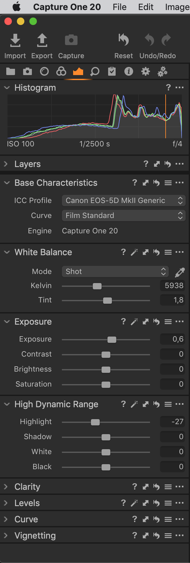 capture one 20.1, exposure tool tab, default workspace