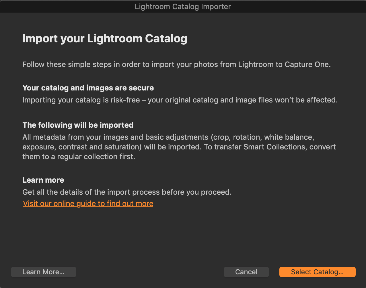 lightroom importer, capture one 20.1