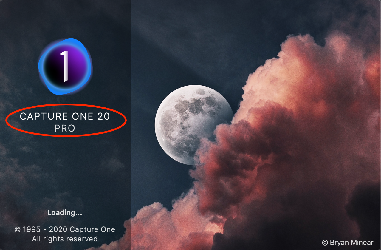 splash screen, capture one pro 20.1