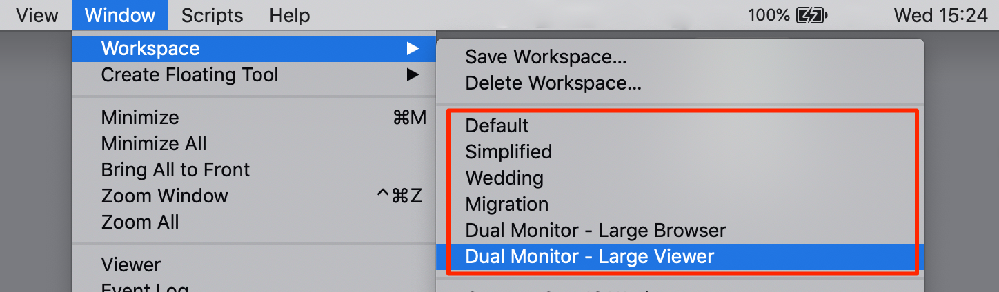 built-in workspaces, capture one 20.1