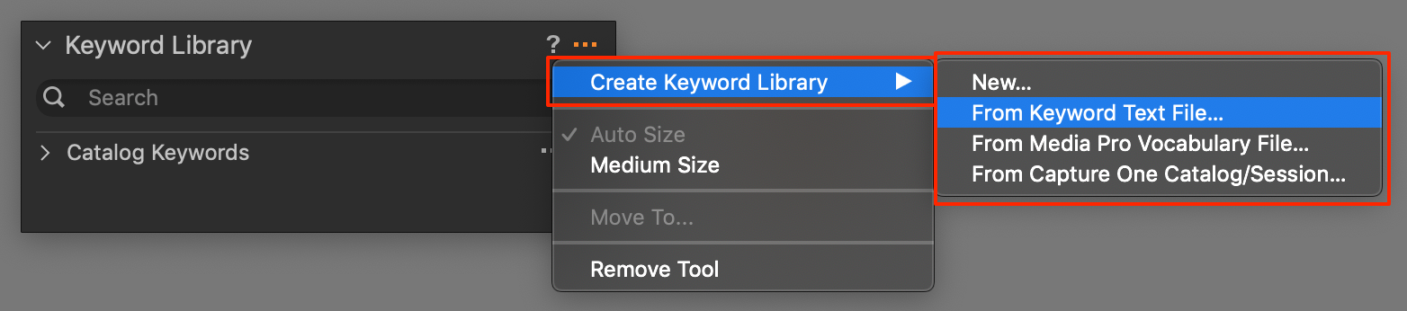 create shared keyword library in keyword library tools, capture one 20