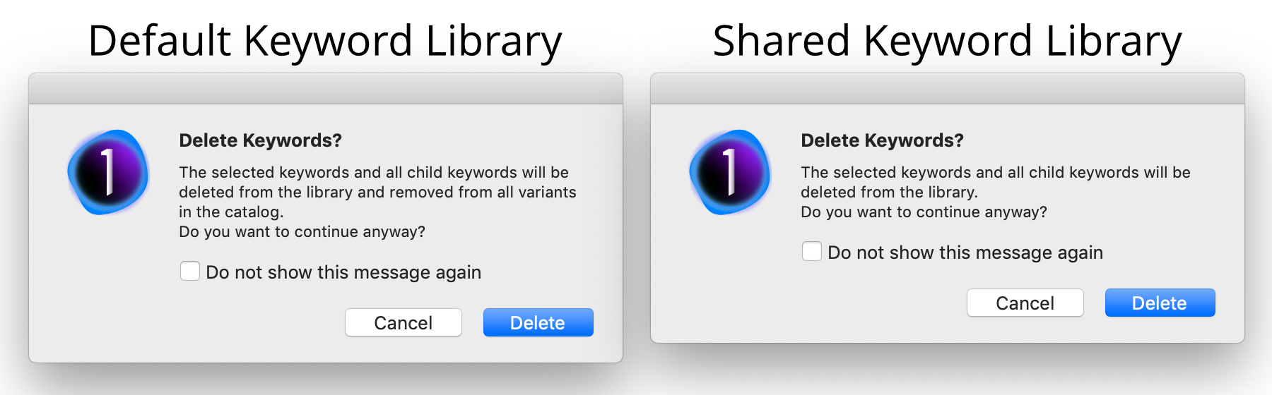 keyword deletion warnings for both default and shared keyword libraries, capture one 20