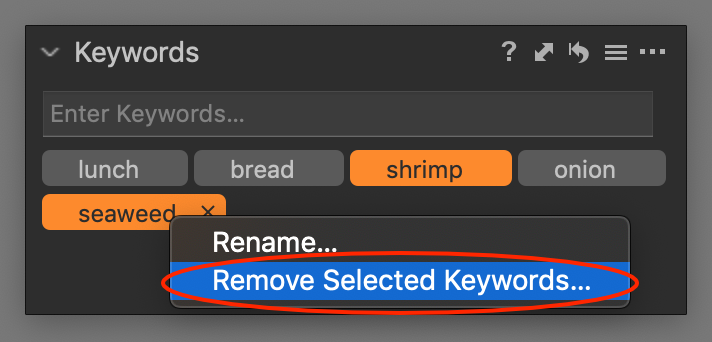 remove selected keywords, capture one 20