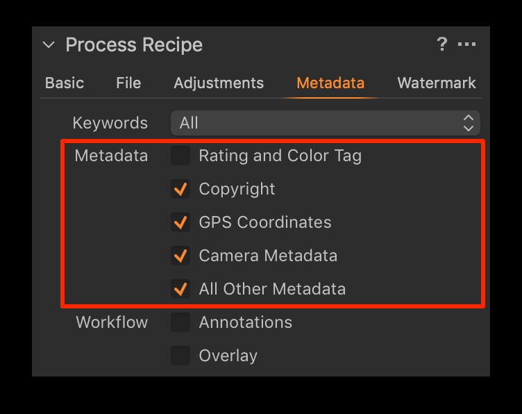 process recipe, metadata tab, capture one 20