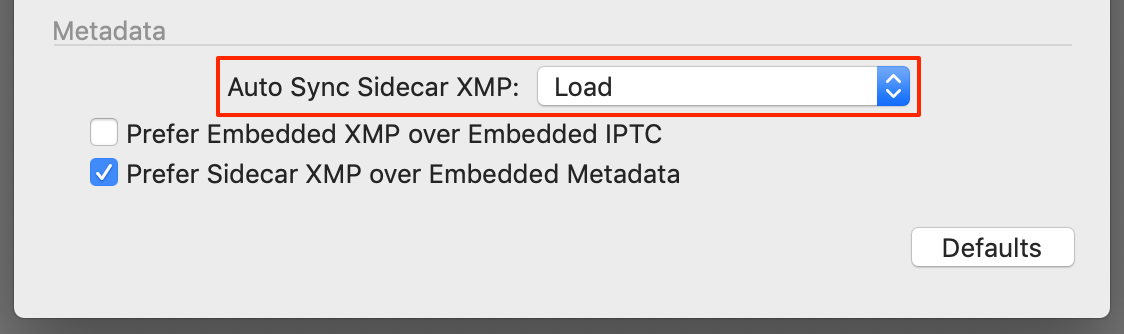 preferences, sidecar xmp metadata sync, load, capture one 20
