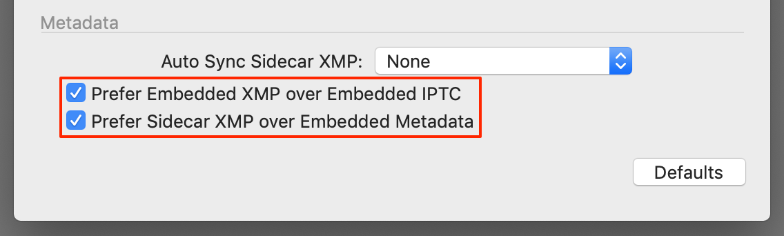 preferences, xmp or IPTC, capture one 20