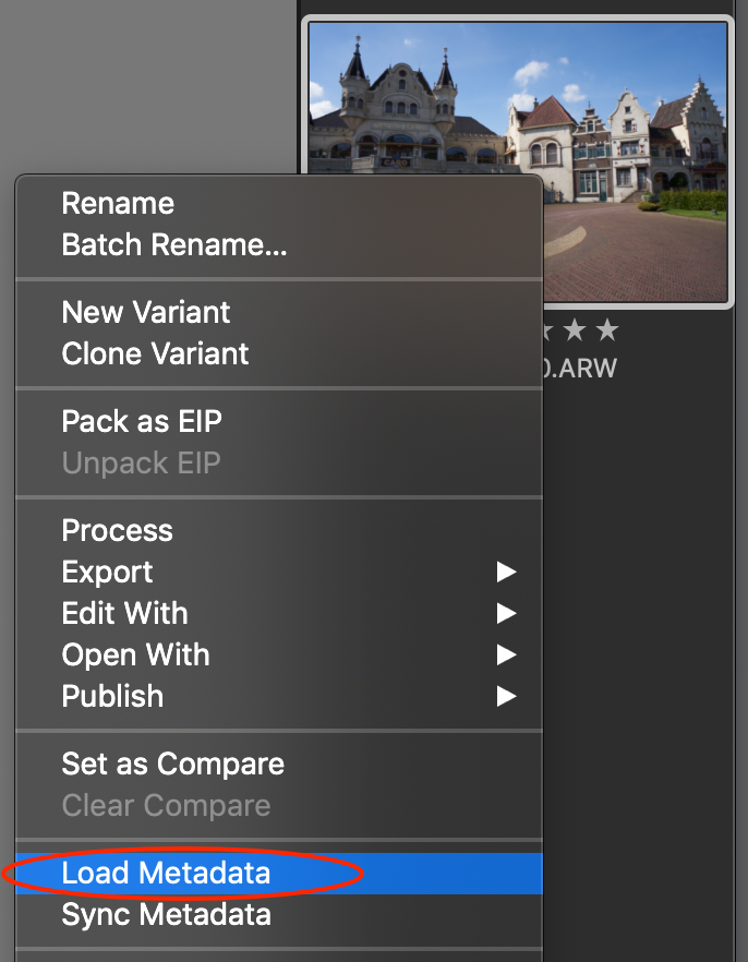 thumbnail, load metadata, capture one 20