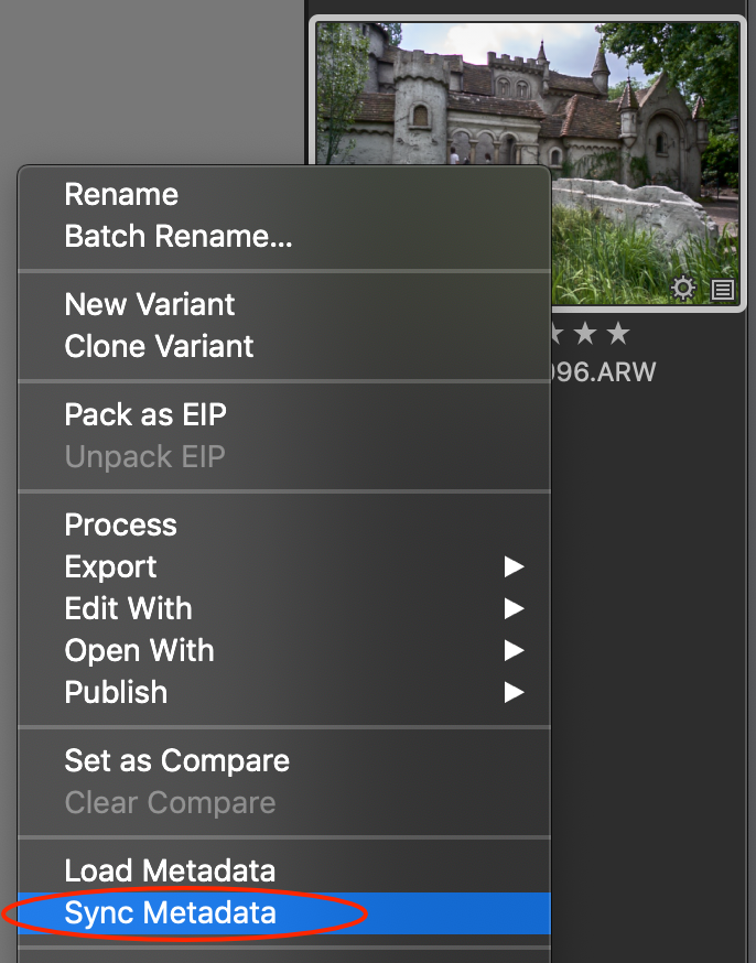 thumbnail, sync metadata, capture one 20