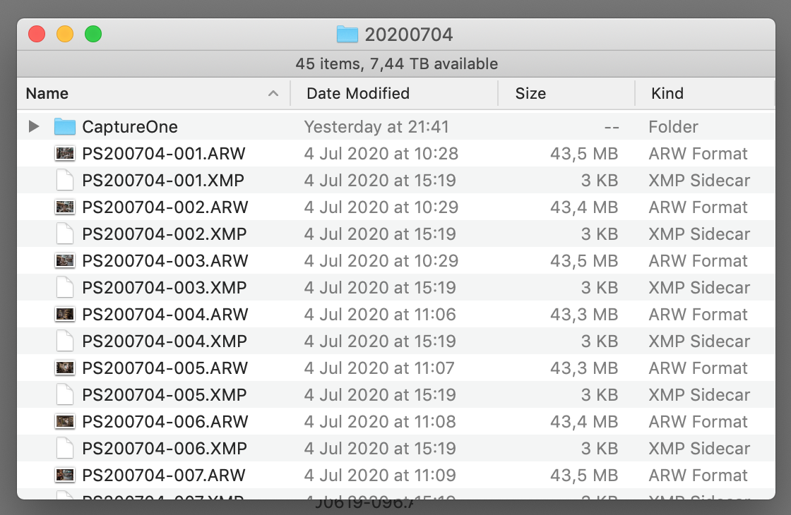 arw raw files and xmp sidecar files, finder