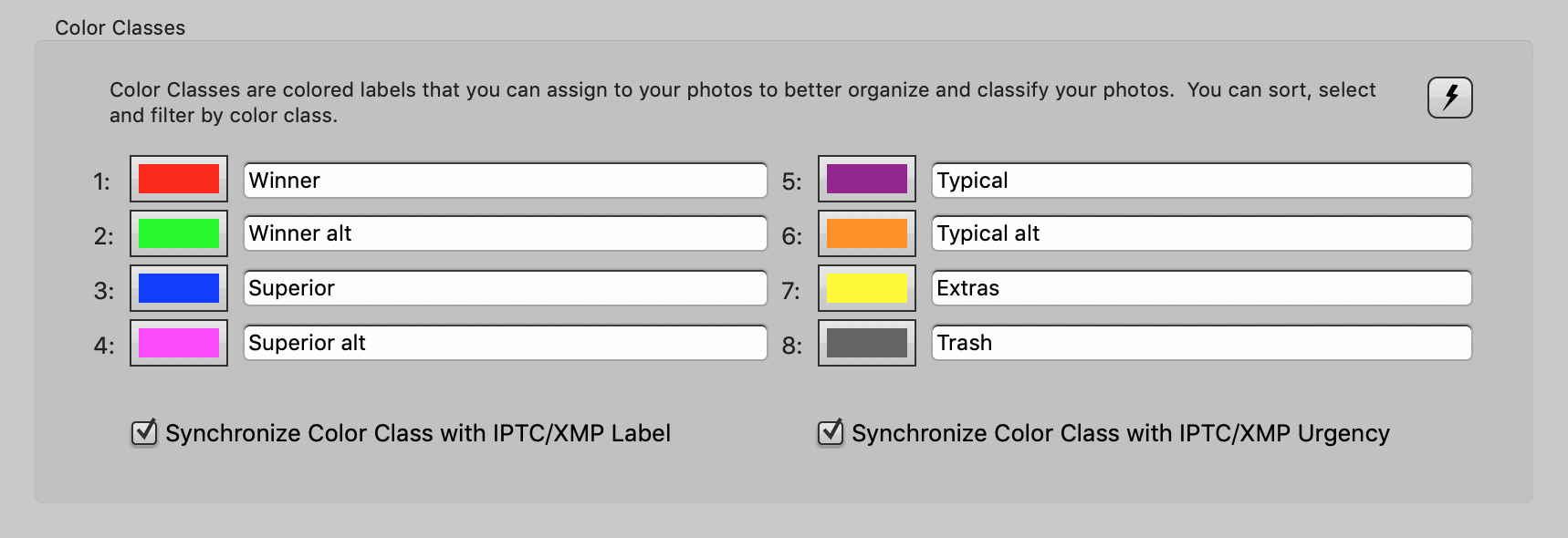 preferences, color classes, photo mechanic