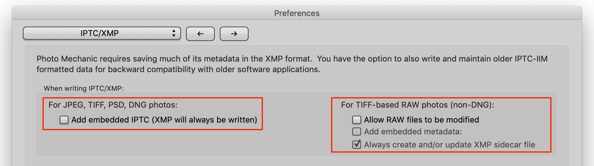 preferences, IPTC and xmp, photo mechanic 6