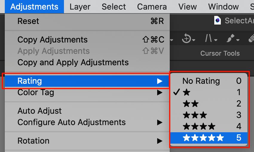 adjustments menu, rating, capture one 20