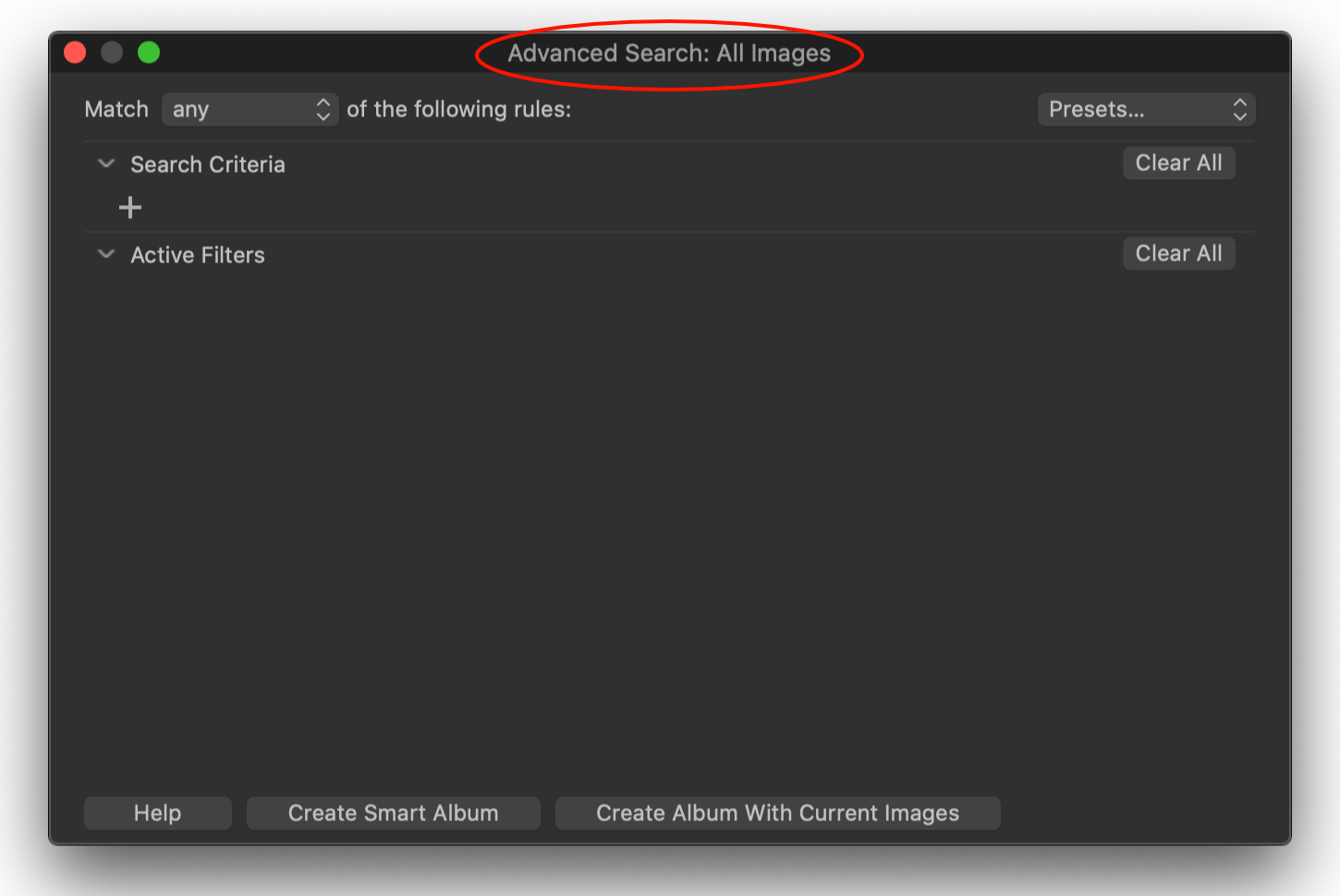 advanced search, capture one 20