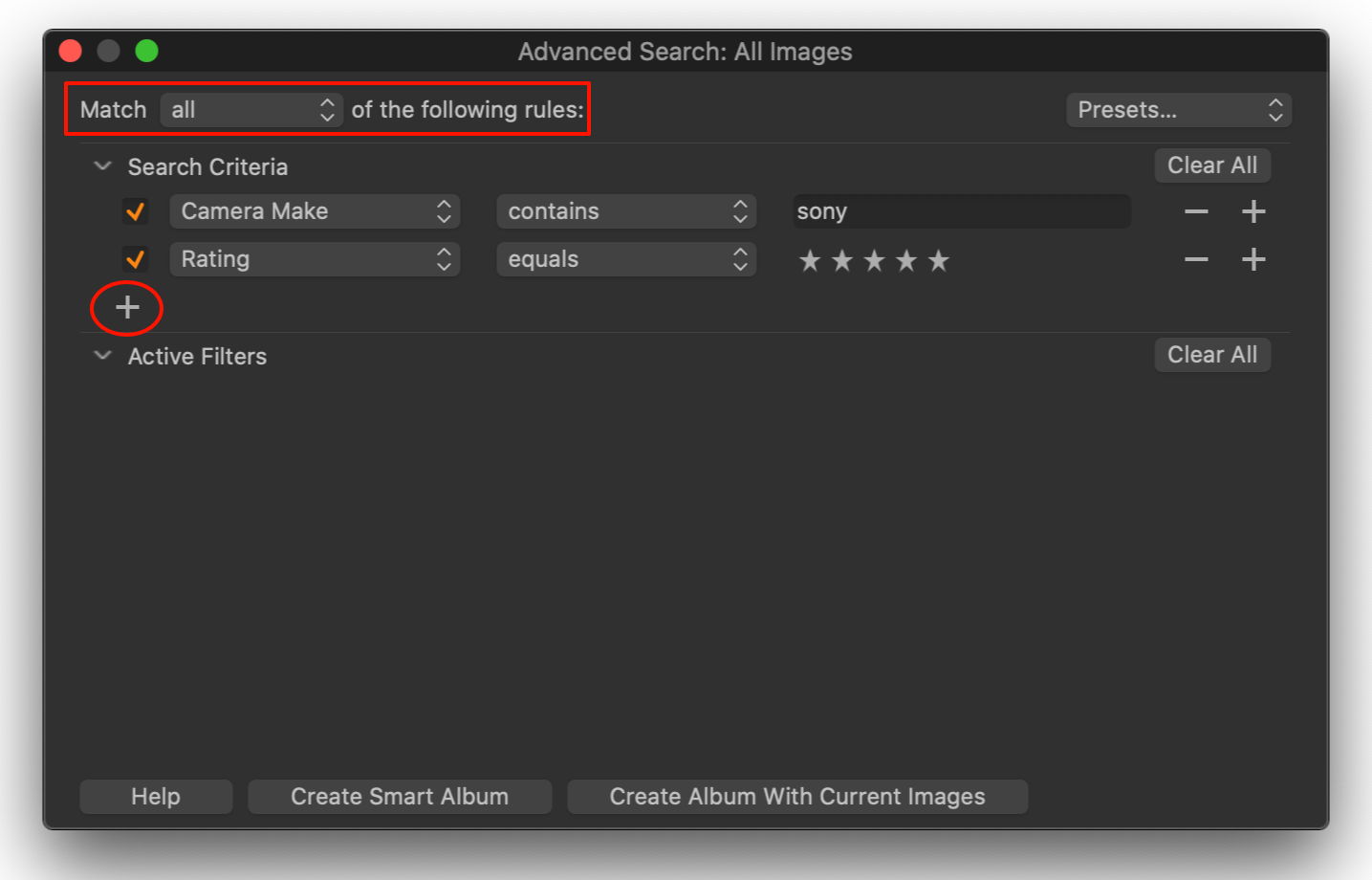 advanced search with two rules, capture one 20