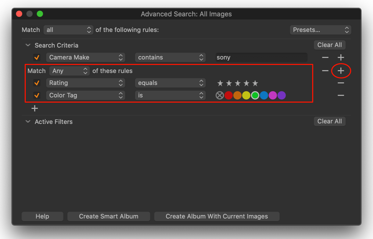 advanced search with search group, capture one 20