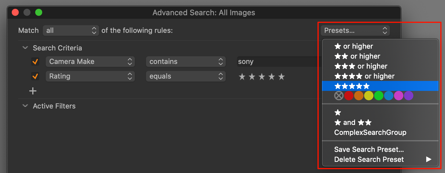 advanced search presets, capture one 20