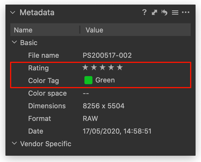 rating and tag, metadata tool, capture one 20