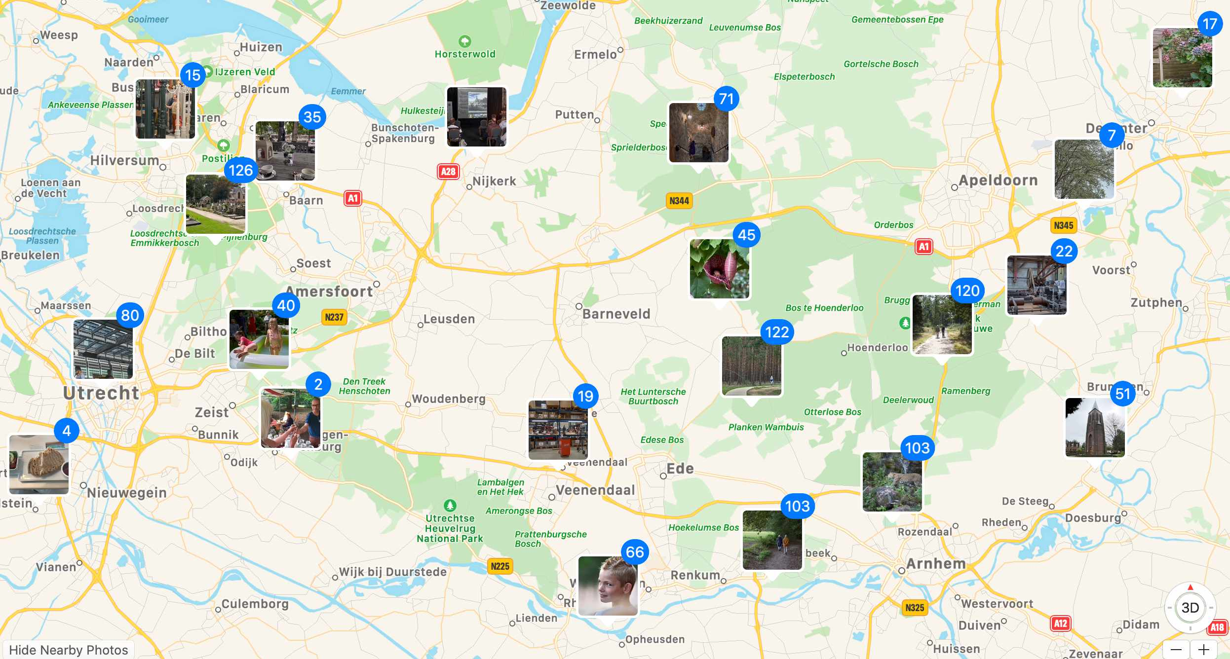 map with image locations thanks to geotagging