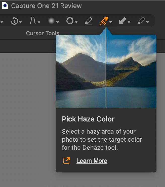 dehaze, enhanced tooltips, capture one 21