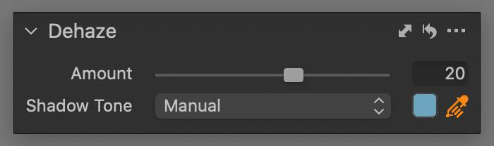 dehaze tool, manual mode, capture one 21