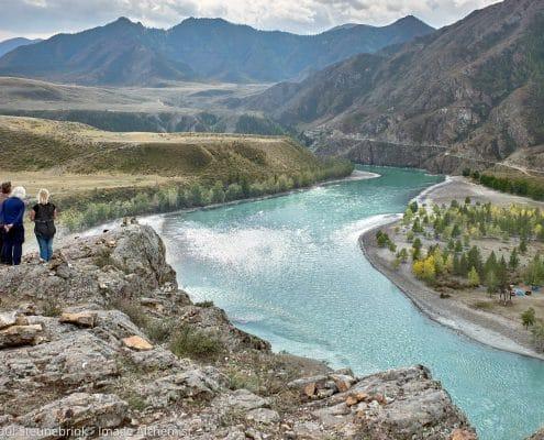 two rivers merge, altai, south siberia