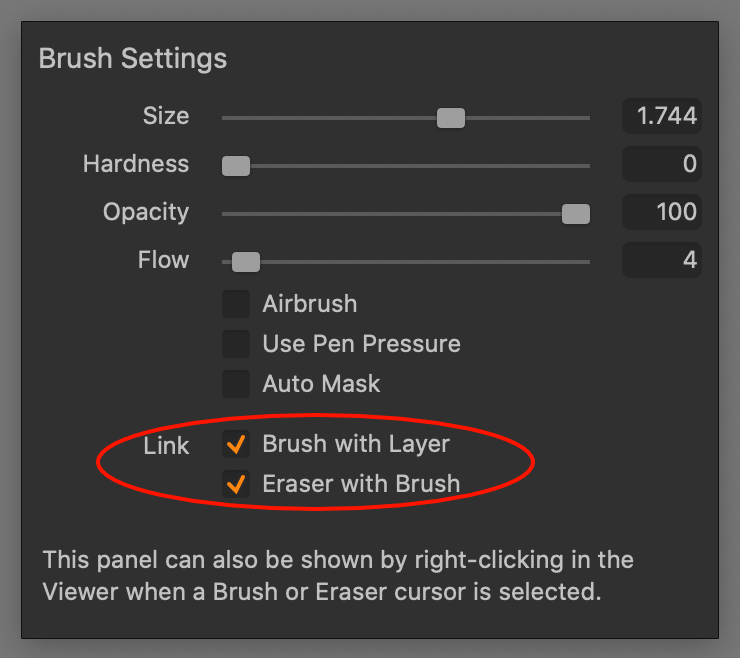 layers tool, brush settings, linking, capture one 21 update 1