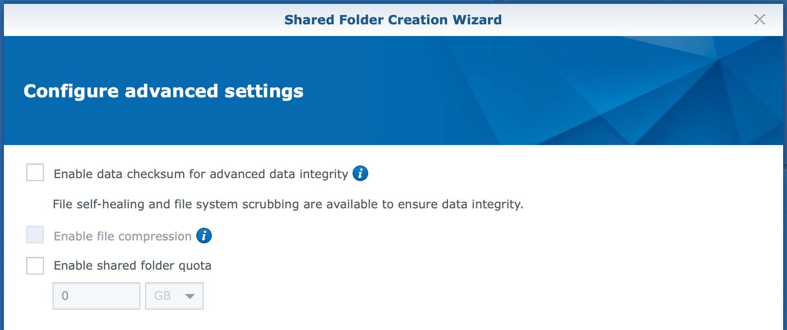 synology, shared folder, create wizard, dsm6