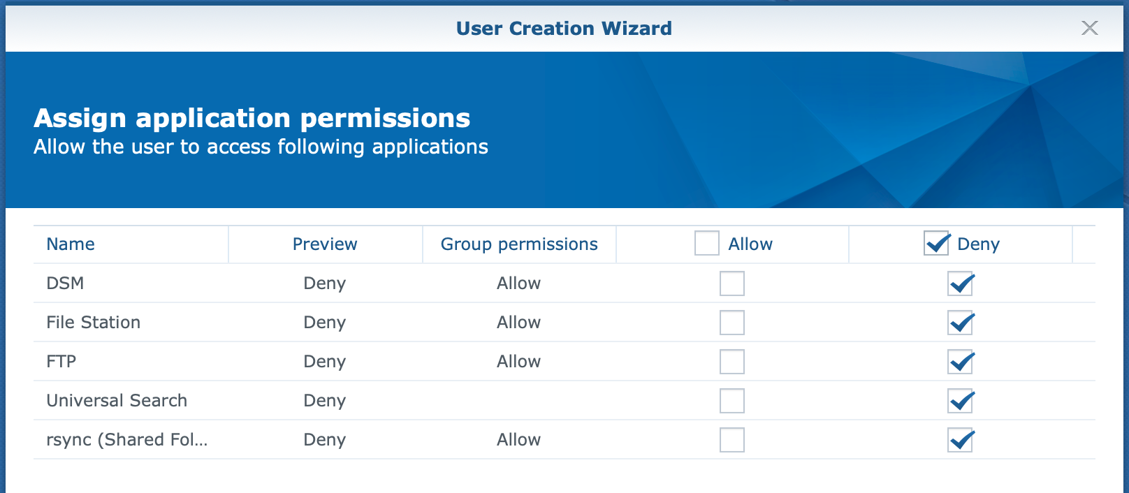 synology, user create wizard, dsm6