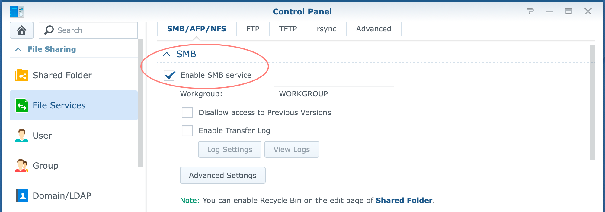 synology, control panel, file services, smb