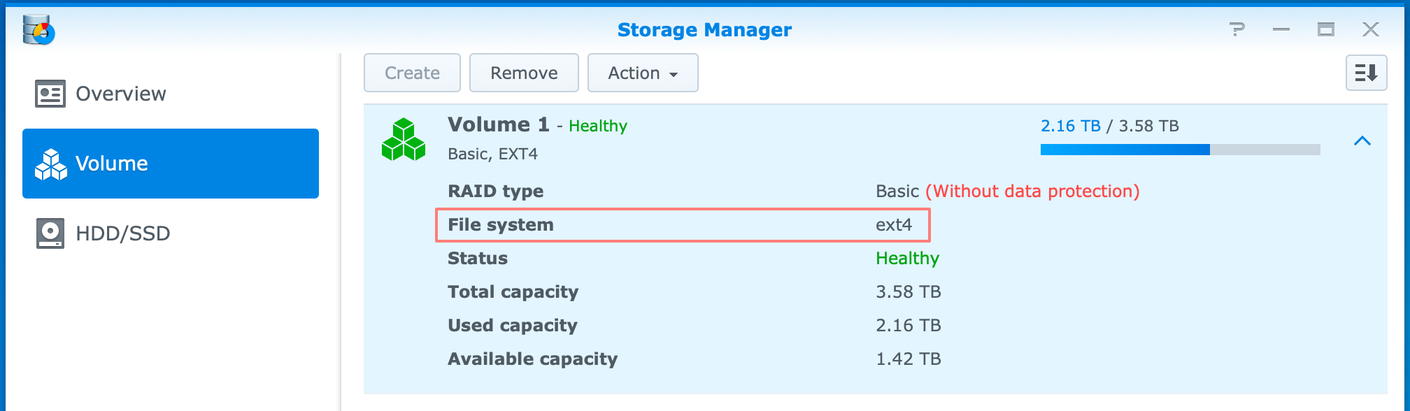 synology, storage manager, ext4