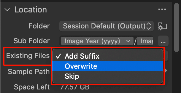export images dialog with existing files options