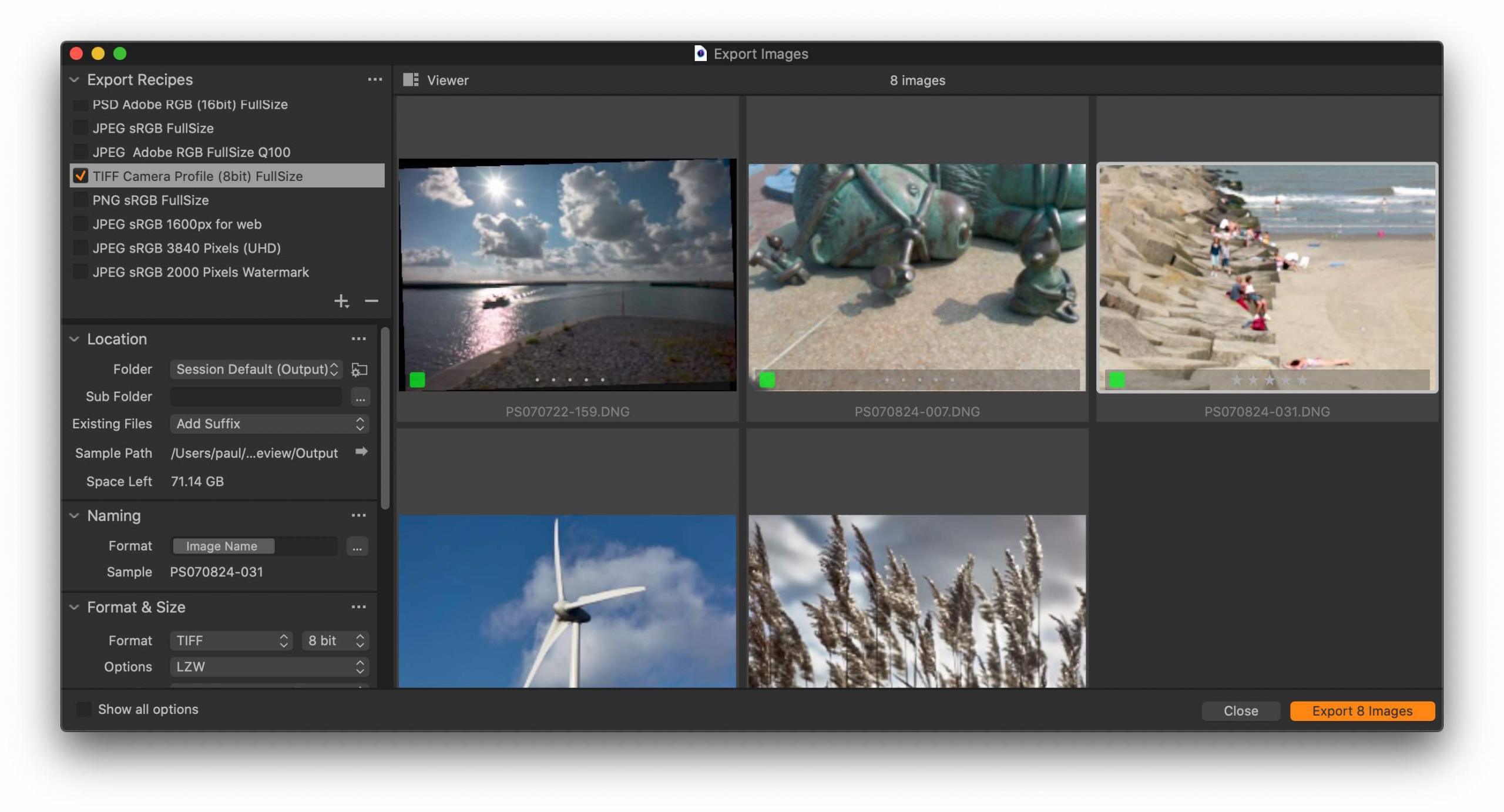 export dialog, thumbnails, capture one 21 update 3