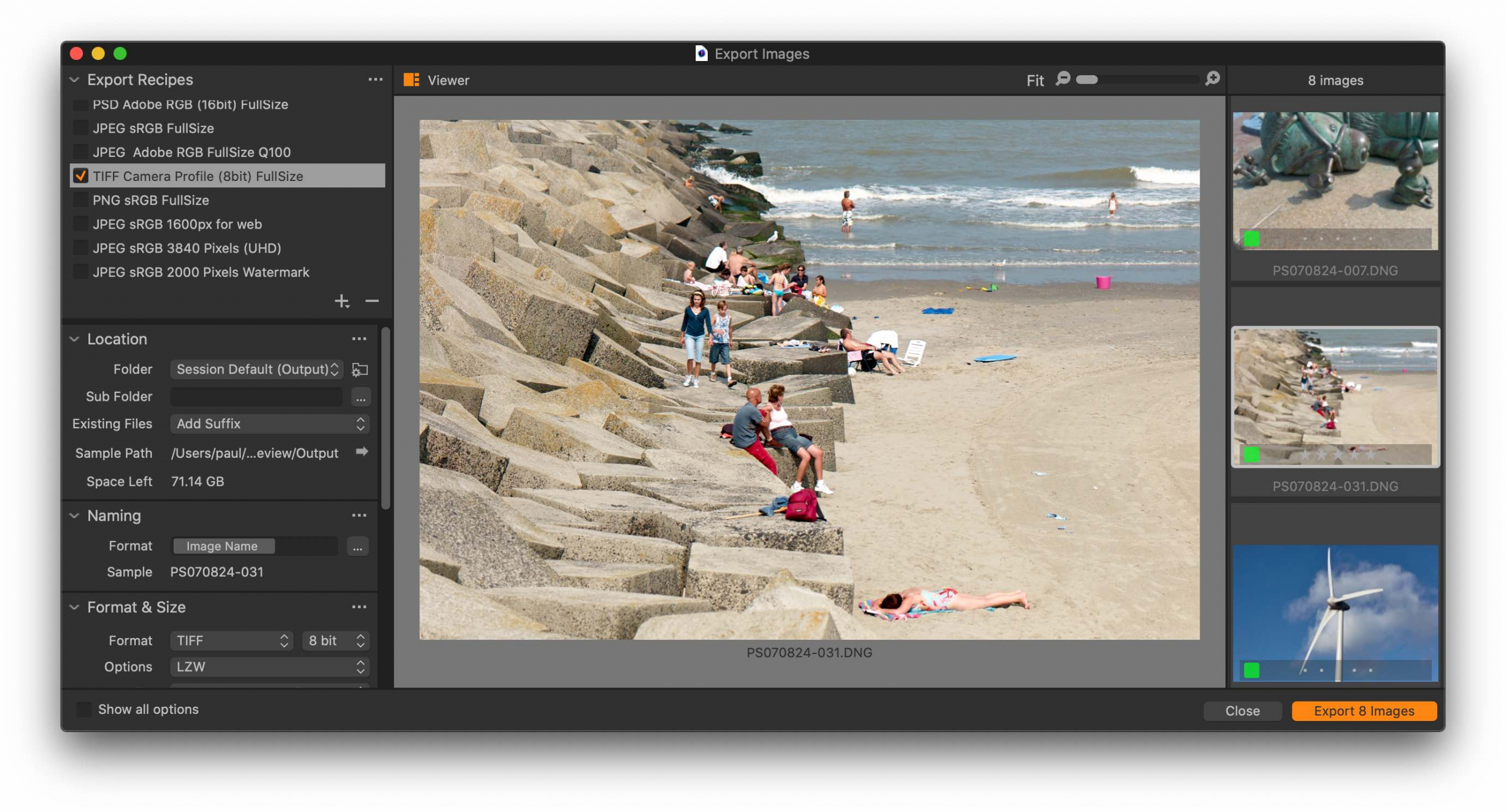 export dialog, large viewer, capture one 21 update 3