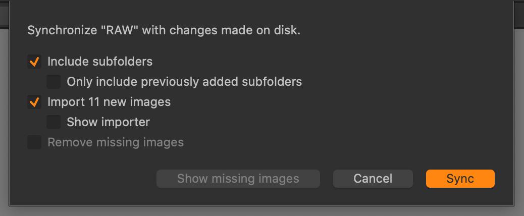 catalog library, synchronize subfolders, capture one 21 update 3
