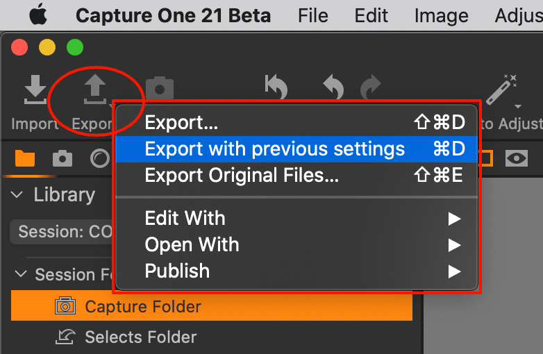 toolbar with new export icon